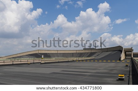 Turin, Italy - May 29, 2016: Roof of Lingotto building with test track of the former Fiat factory in Turin, Italy.