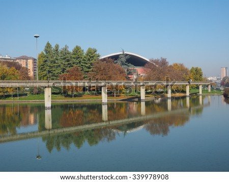 TURIN, ITALY - NOVEMBER 07, 2015: Ruins of Monorail built for the Italia 61 exhibition in 1961 for the centenary of Italian reunion - stock photo