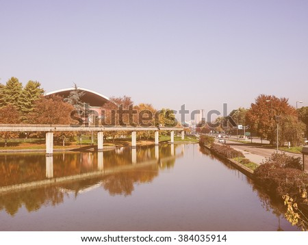 TURIN, ITALY - NOVEMBER 07, 2015: Ruins of Monorail built for the Italia 61 exhibition in 1961 for the centenary of Italian reunion, vintage - stock photo