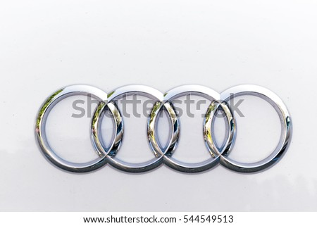 TURIN, ITALY - OCTOBER 4, 2016: Audi logo on a white car body