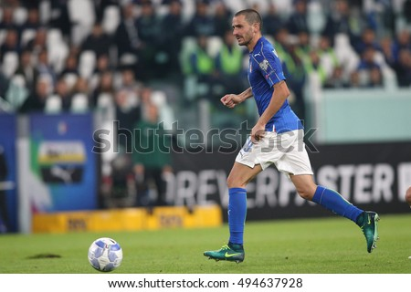 Turin, Italy 6 october, 2016:Bonucci  in action during the match European Qualifiers Russian World Cup 2018  between Italy vs Spain in Juventus  stadium in Turin on October 2016.