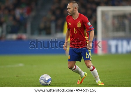 Turin, Italy 6 october, 2016:Iniesta  in action during the match European Qualifiers Russian World Cup 2018  between Italy vs Spain in Juventus  stadium in Turin on October 2016.