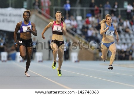 TURIN - JUNE 8:(from left) Bayne Chauntae, Povh Olesya, Draisci Ilenia runs 100m sprint women race at XIX Turin International Track and Field meeting, Italy on 8th june 2013, in Turin, Italy.