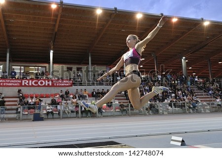 TURIN - JUNE 8:McLaren Nicholeen RSA performs long jump woman at XIX Turin International Track and Field meeting, Italy on 8th june 2013, in Turin, Italy. - stock photo