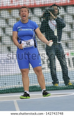TURIN - JUNE 8:Palmieri Elisa from Italy performs Hammer Throw at XIX Turin International Track and Field meeting in Turin, Italy on 8th june 2013, in Turin, Italy. - stock photo
