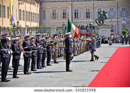 TURIN - JUNE 2: Parade of Italian Army during the celebrations of Italian Republic Day on June 2, 2013 Turin, Italy. - stock photo