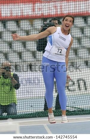 TURIN - JUNE 8:Silvia Salis from Italy performs Hammer Throw at XIX Turin International Track and Field meeting, Italy on 8th june 2013, in Turin, Italy. - stock photo