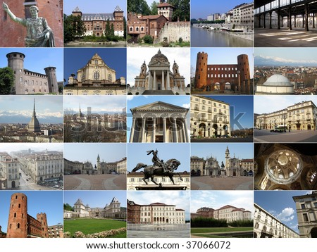Turin landmarks collage including ancient and baroque architecture - all pictures in the collage are mine - stock photo