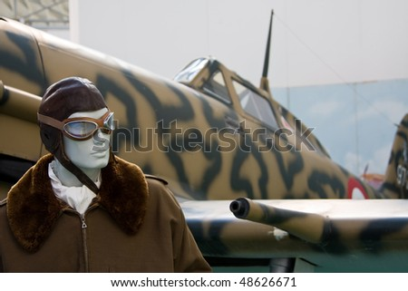 """TURIN -MARCH 12 -  MACCHI C 205 """"Veltro"""" Aircraft on static display in Turin during the exhibition of  Italian Air Force  """"The Century with wings"""" on March 12, 2010 in Turin, Italy - stock photo"""