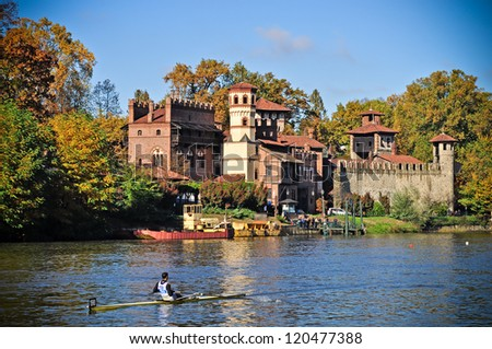 TURIN - NOVEMBER 11: Rower, Borsini Matteo (Italy), of Limite team, during the traditional International long distance rowing regatta Silverskiff on November 11, 2012 Turin, Italy. - stock photo