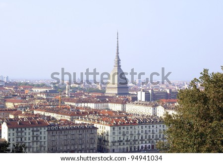 Turin Skyline Panorama Seen From The Hill With Mole Antonelliana Famous Ugly Wedding Cake Building