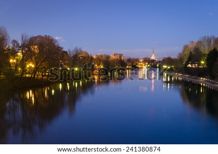 Turin (Torino), river Po and Mole Antonelliana (blue hour)