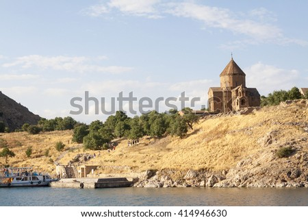 Turkey. Akdamar Island (Akdamar Adasi) in Van Lake. The Armenian Cathedral of the Holy Cross from 10th century (Akdamar Kilisesi). External walls are decorated with bas-reliefs decipt biblical scenes