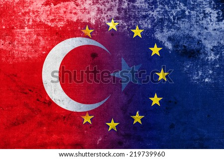 Turkey and European Union Flag with a vintage and old look - stock photo