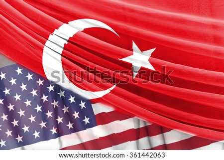 turkey and USA flag on curtain background
