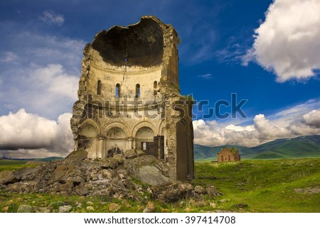 "Turkey. Ani - Armenian capital in the past, now is plateau with the ruins of churches (""City of 1001 Churches""). The Church of the Redeemer and the Cathedral of Ani in the background"