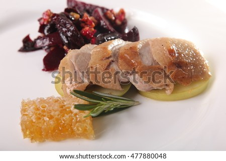 Turkey Breast with beetroot on plate