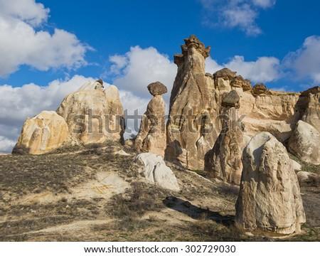 Turkey, Cappadocia, rock formations in the form of mushrooms - stock photo
