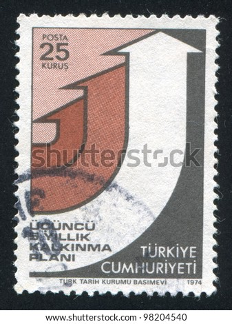 TURKEY- CIRCA 1974: A stamp printed by Turkey, shows arrows pointing up, circa 1974