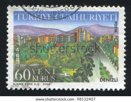 TURKEY - CIRCA 2005: A stamp printed by Turkey, shows province Denizli, circa 2005