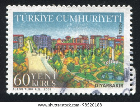 TURKEY - CIRCA 2005: A stamp printed by Turkey, shows province Diyarbakir, circa 2005