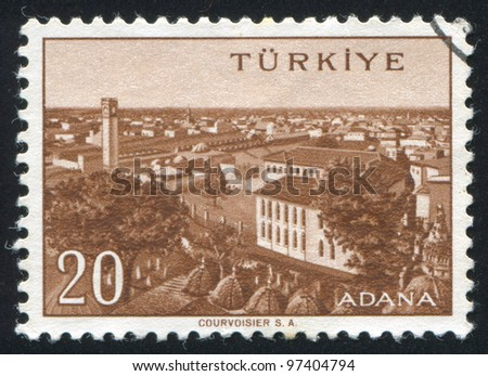 TURKEY - CIRCA 1959: A stamp printed by Turkey, shows Turkish city, Adana, circa 1959.
