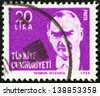TURKEY - CIRCA 1980: A stamp printed in Turkey shows a portrait of Kemal Ataturk, circa 1980. - stock photo