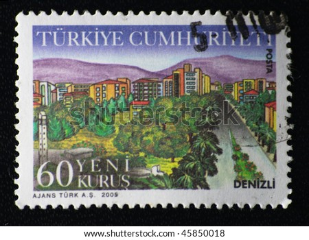 TURKEY - CIRCA 2005: A stamp printed in Turkey shows denizli city, circa 2005