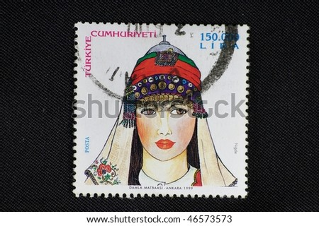 TURKEY - CIRCA 1999: A stamp printed in Turkey shows local clothing, circa 1999