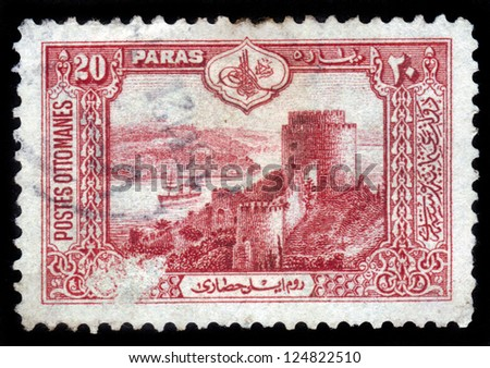 TURKEY - CIRCA 1913: A stamp printed in Turkey shows seascape with castle of Europe at Bosporus peninsula, Istanbul, circa 1913 - stock photo