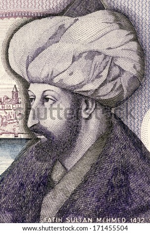 TURKEY - CIRCA 1986: Mehmed the Conqueror (1432-1481) on 1000 Lira 1986 Banknote from Turkey. Sultan of the Ottoman Empire during 1444-1446 and 1451-1581. - stock photo
