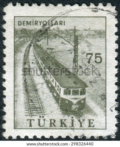 TURKEY - CIRCA 1960: Postage stamp printed in Turkey, depicted Railway, circa 1960