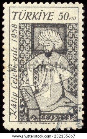 Turkey - CIRCA 1958: stamp printed by Turkey, shows, An Ottoman scholar, Katip Celebi  historian and geographer, circa 1958.