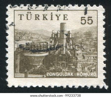 TURKEY - CIRCA 1959: stamp printed by Turkey, shows coal mine, Zonguldak, circa 1959 - stock photo