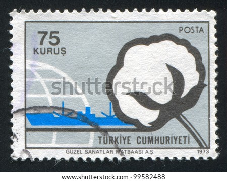 TURKEY- CIRCA 1973: stamp printed by Turkey, shows cotton and ship, circa 1973