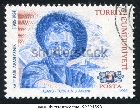 TURKEY- CIRCA 1992: stamp printed by Turkey, shows Sait Faik Abasiyanik, writer, circa 1992