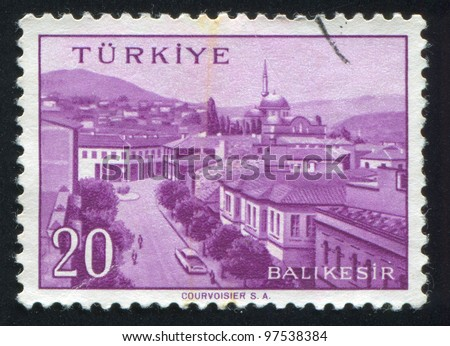 TURKEY - CIRCA 1959: stamp printed by Turkey, shows Turkish city, Balikesir, circa 1959.