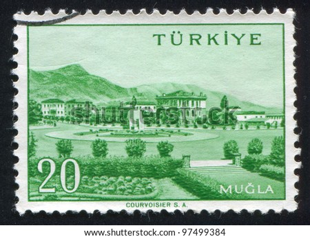 TURKEY - CIRCA 1959: stamp printed by Turkey, shows Turkish city, Mugla, circa 1959.