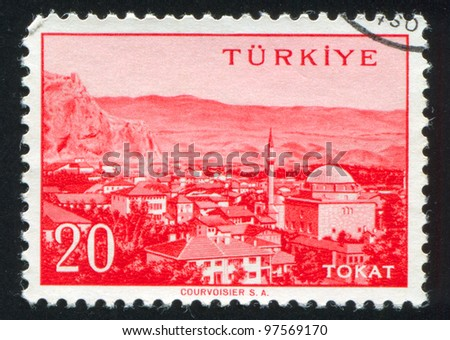 TURKEY - CIRCA 1959: stamp printed by Turkey, shows Turkish city, Tokat, circa 1959.