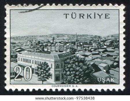 TURKEY - CIRCA 1959: stamp printed by Turkey, shows Turkish city, Usak, circa 1959.