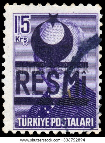TURKEY - CIRCA 1948: Stamp printed in Turkey shows Mustafa Ismet Inonu, circa 1948