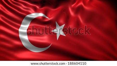 Turkey flag - stock photo