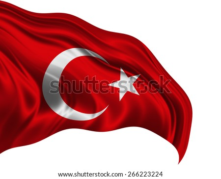 Turkey flag and white background