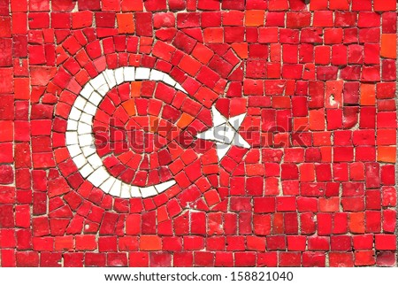 Turkey Flag in Mosaic - stock photo