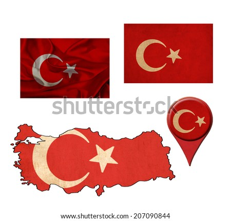 Turkey flag, map and map pointers  - stock photo