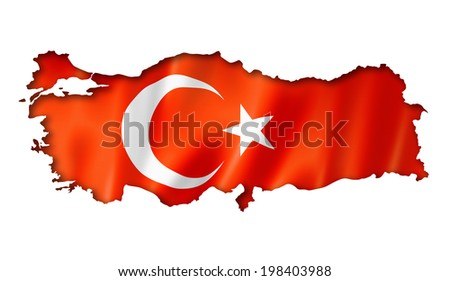 Turkey flag map, three dimensional render, isolated on white - stock photo