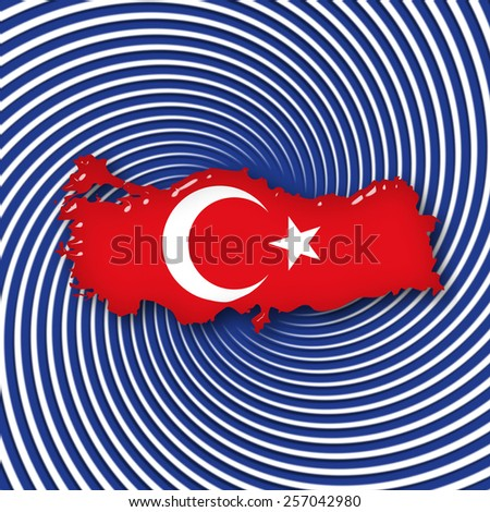 Turkey flag,map with blue and white background