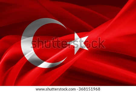 Turkey flag of silk