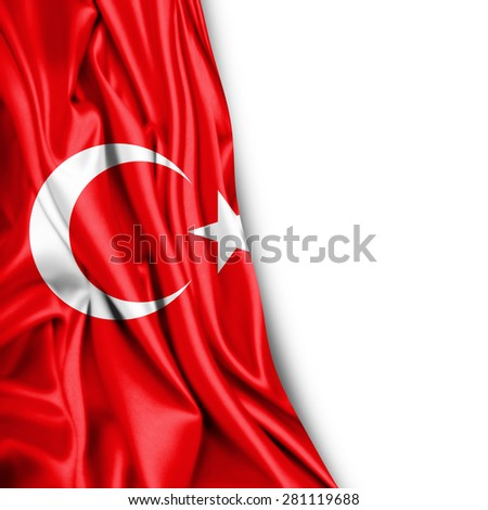 Turkey flag of silk and white background