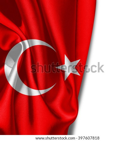 Turkey flag of silk with copyspace for your text or images and White background
